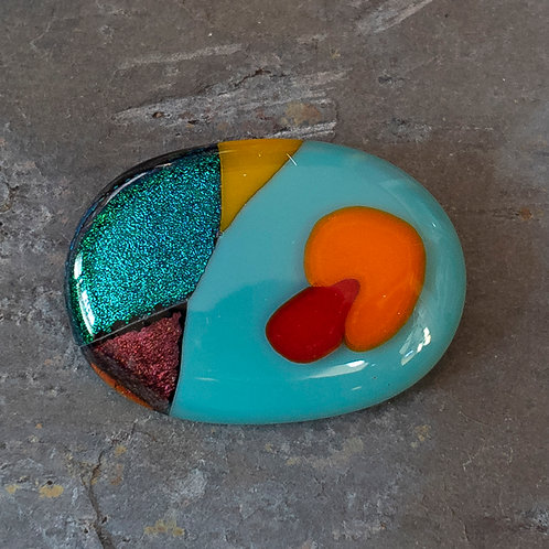 Fused Glass Brooch, #Ten