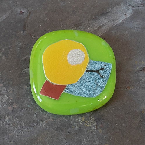 Fused Glass Brooch, #Six