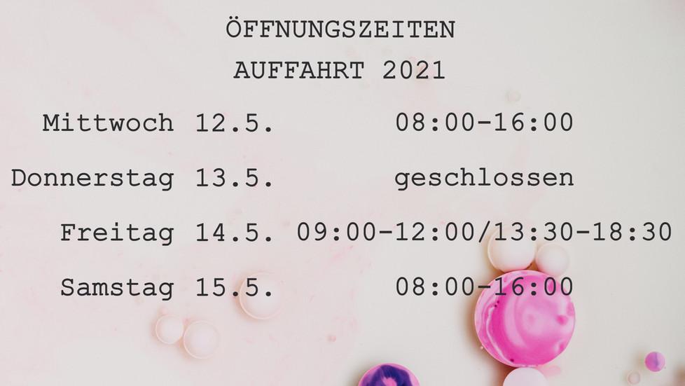 Öffnungszeiten Auffahrt 2021