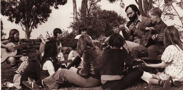Peter with students at Patchewollock, in the Mallee 1979