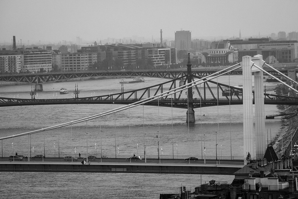The Danube river and 3 bridges across it