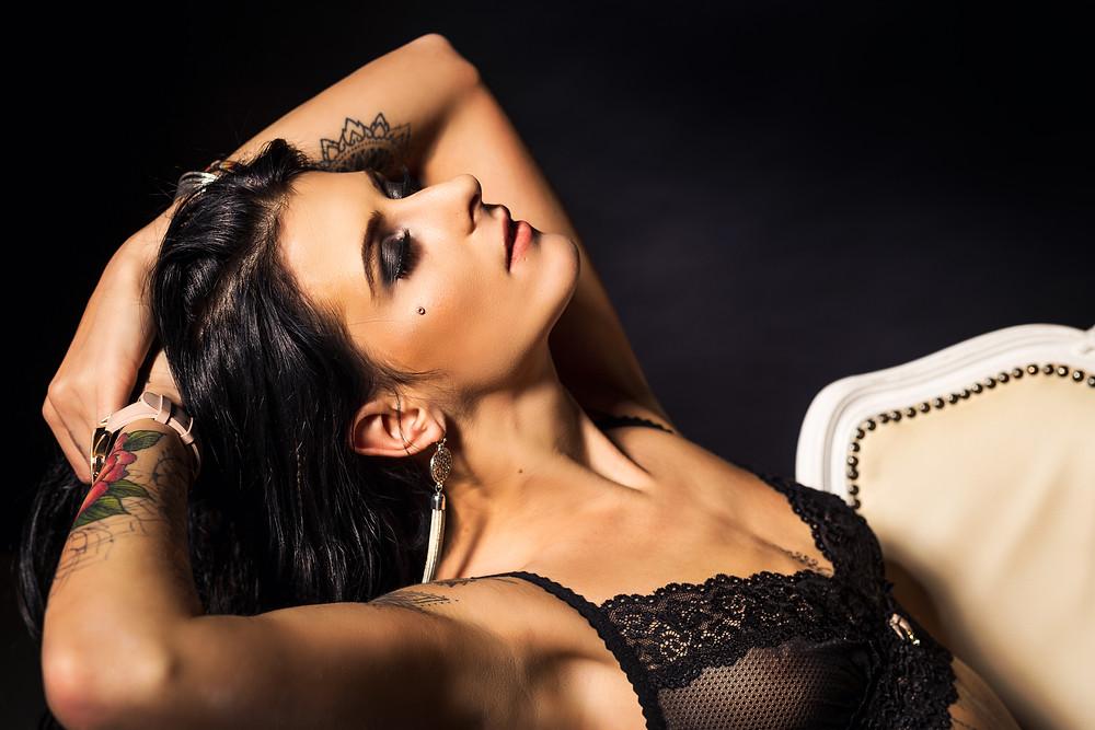 Model posing in lingerie