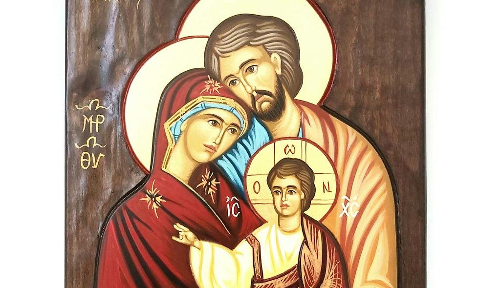 Icon: The Holy Famiky Hand Made on Mahagoni  Wood