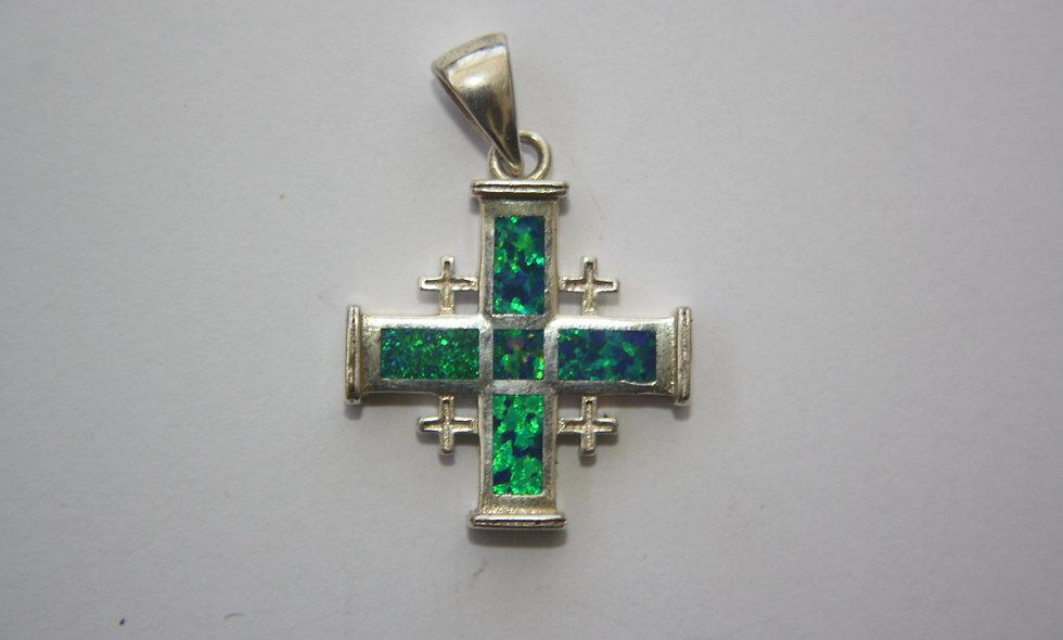 Silver Pendant: Jerusalem Cross With Opal