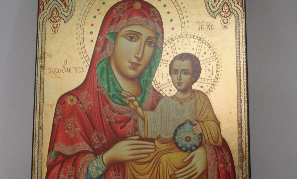 Icons: Virgin Mary Of Jerusalem Icon Gold Leaf