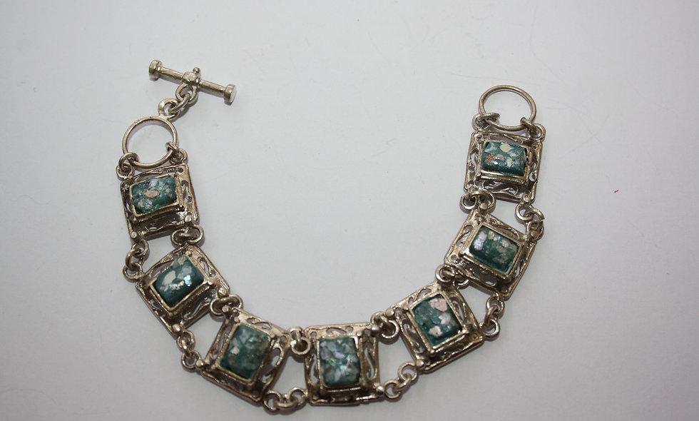 Silver Bracelet: Roman Glass Antique Bracelet