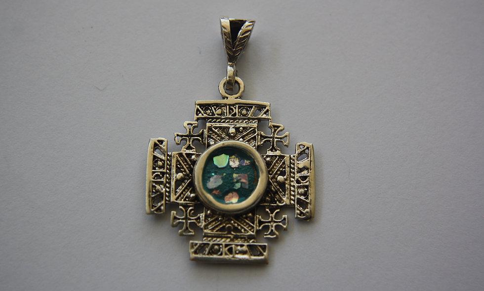 Silver Pendant: Roman Glass Jerusalem Cross