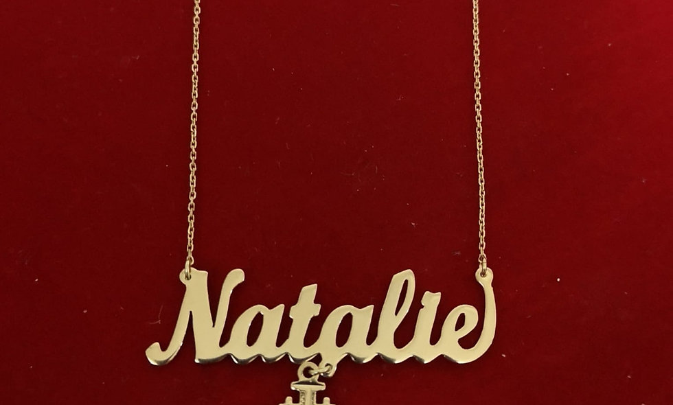Name neckless with the Jerusalem cross