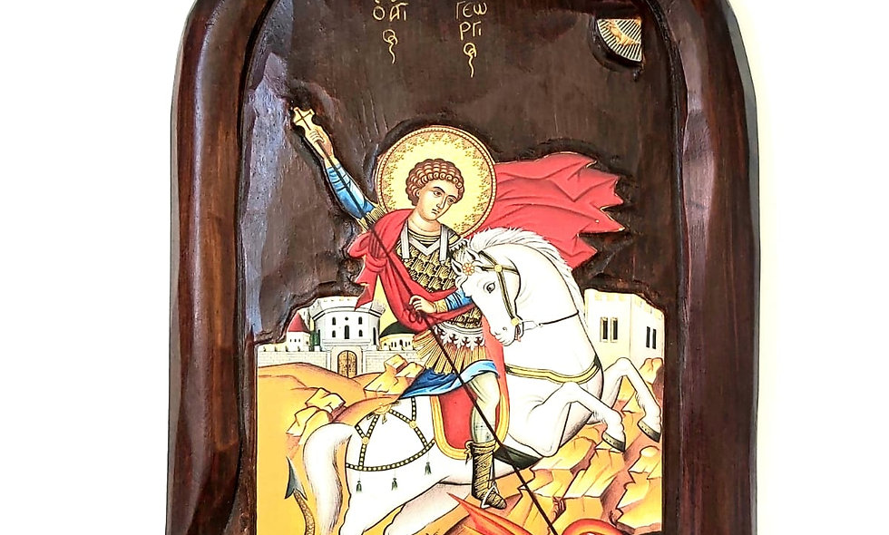 Icon product: St. Michel hand painted on mahagoni wood
