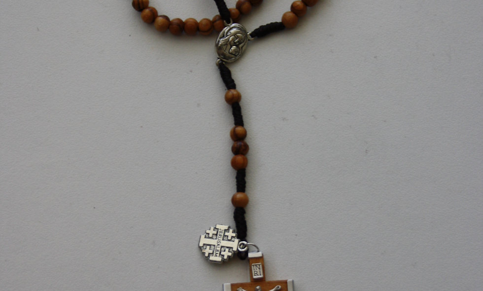 OLive Wood Rosary with Soil from Jerusalem