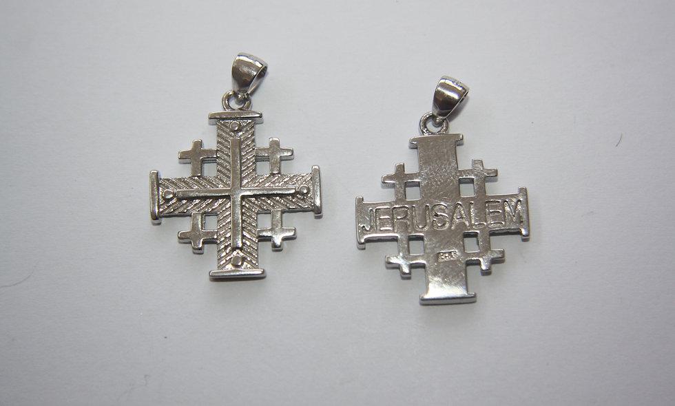 Silver Pendant: Silver Plain Jerusalem Cross