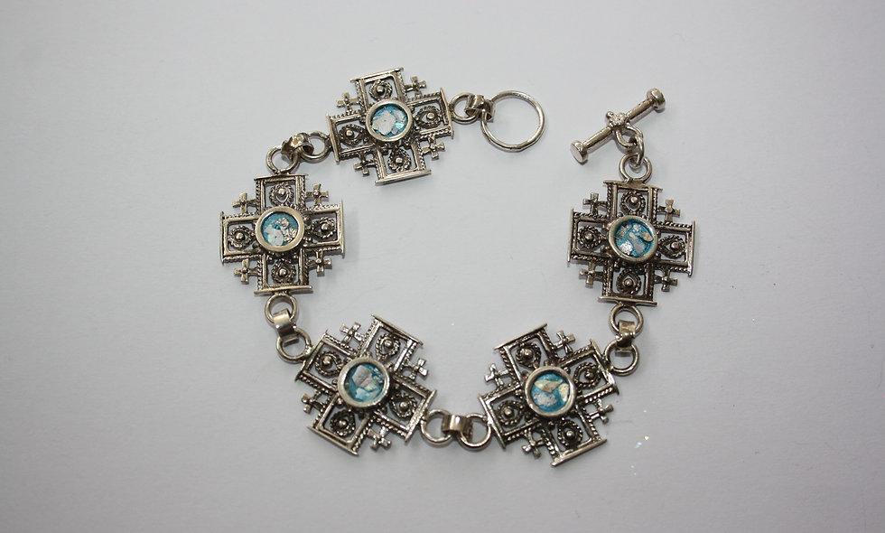 Silver Bracelet: Roman Glass Antique Jerusalem Cross Bracelet
