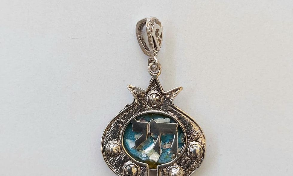 Silver Pendant Life in Hebrew Ketters( khai)