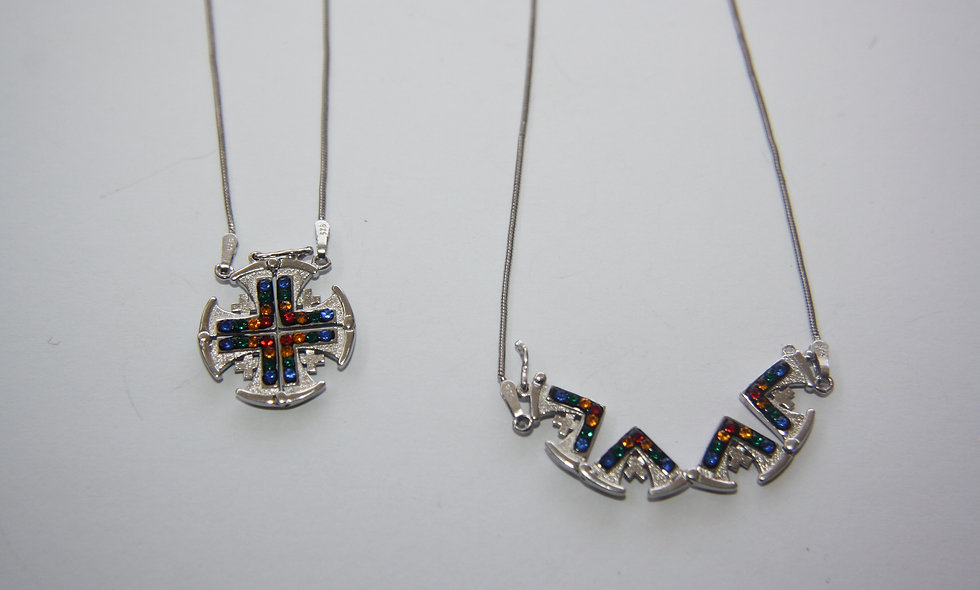 Silver Pendant: Jerusalem Cross Wall Two Colored sides