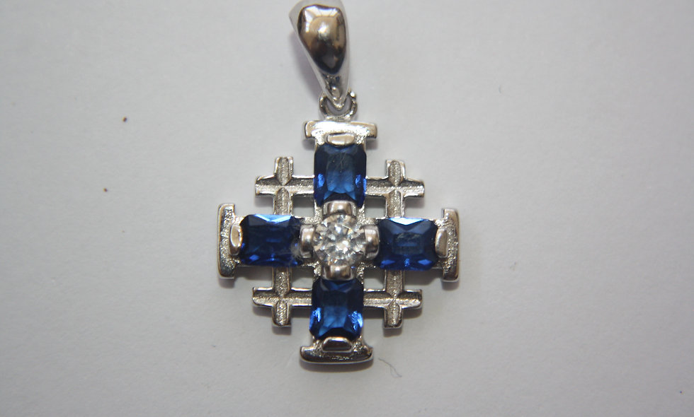 Silver Pendant: Jerusalem Cross with Hemathist