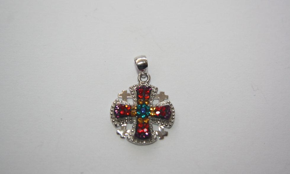 Silver Pendant: Jerusalem Cross Crystals