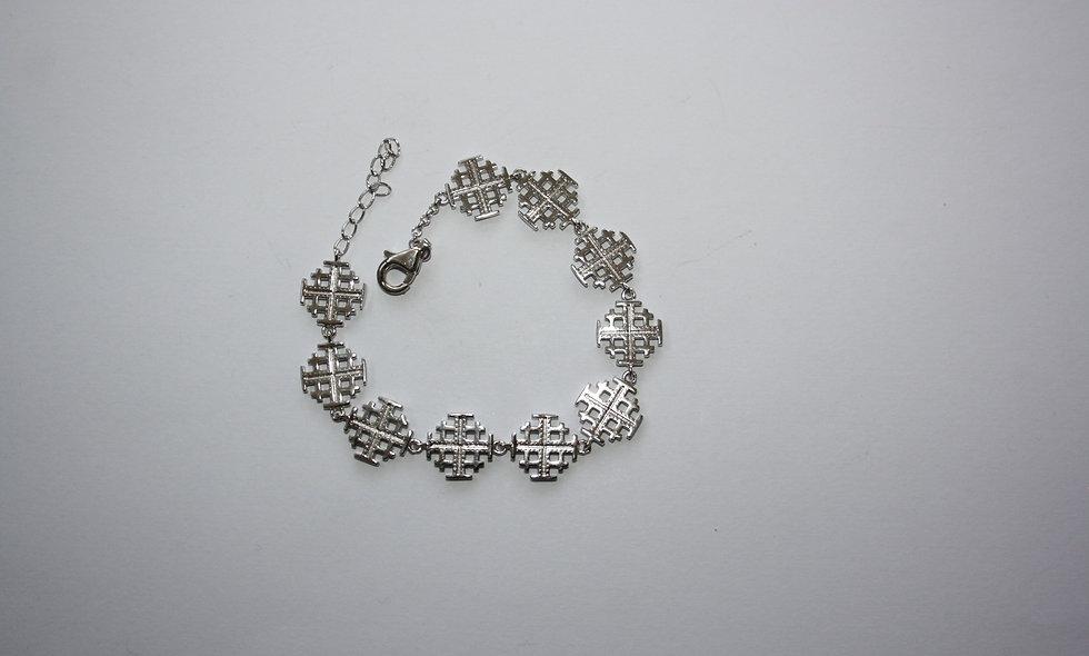 Silver Braclet:Jerusalem plain Silver Cross Bracelet
