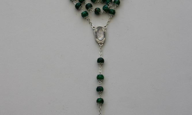 Malakite Stone Rosary With Jordan River Water