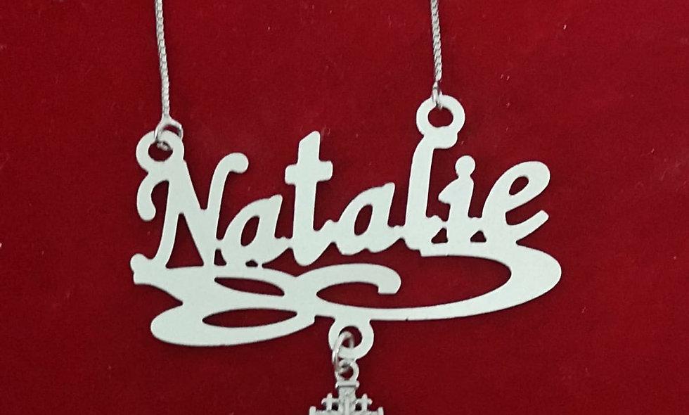Name Necklace with Jerusalem ross