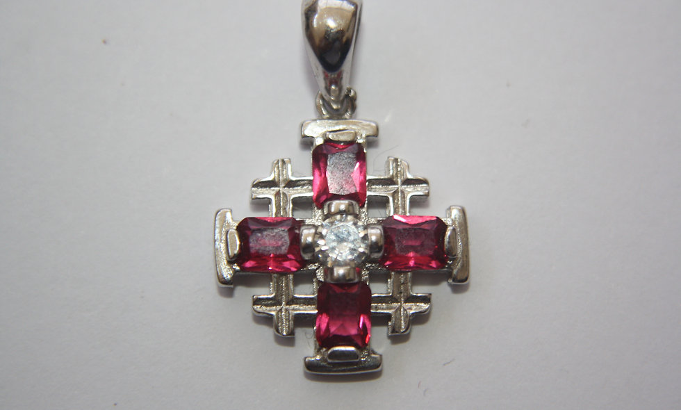 Silver Pendant: Jerusalem Cross  with red Crystals