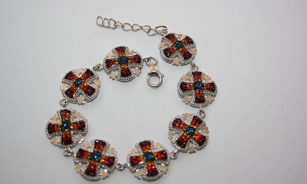 Silver Braclet:Jerusalem Cross Colored Crystals Bracelet