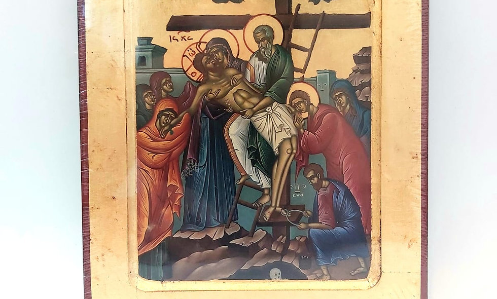 Icon product : Descending from the Cross at Golgota canvas  gold leaf