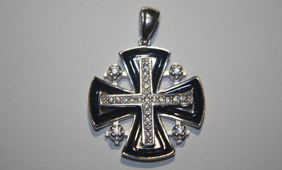 Silver Pendant: Jerusalem Cross with Emayl Stone