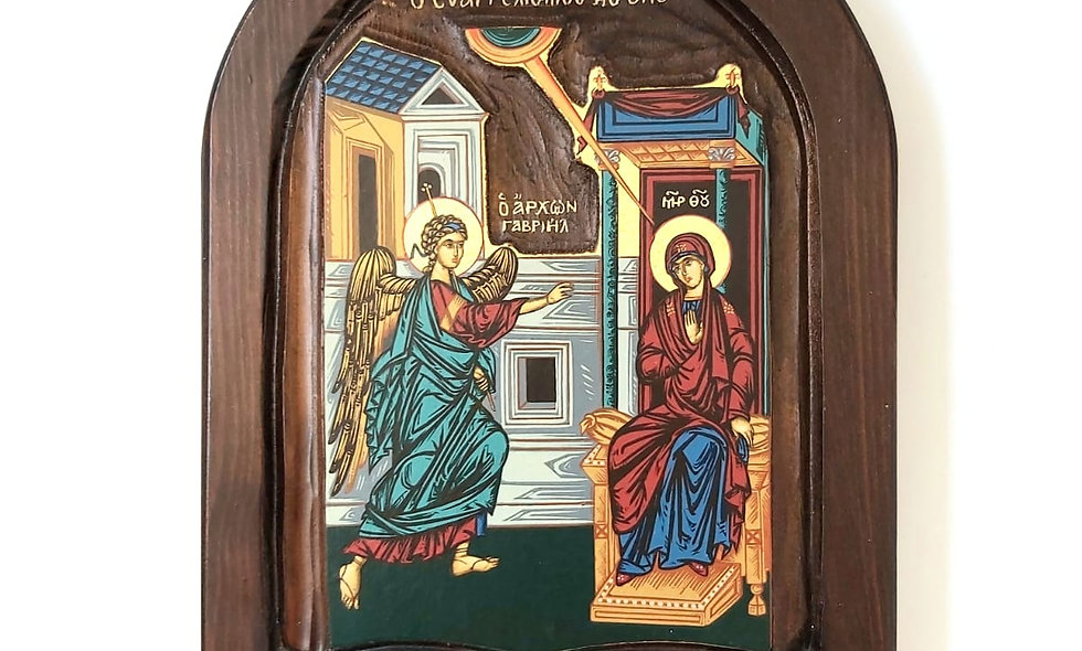 Icon Product: The Annunciation hand painted on Mahagoni wood