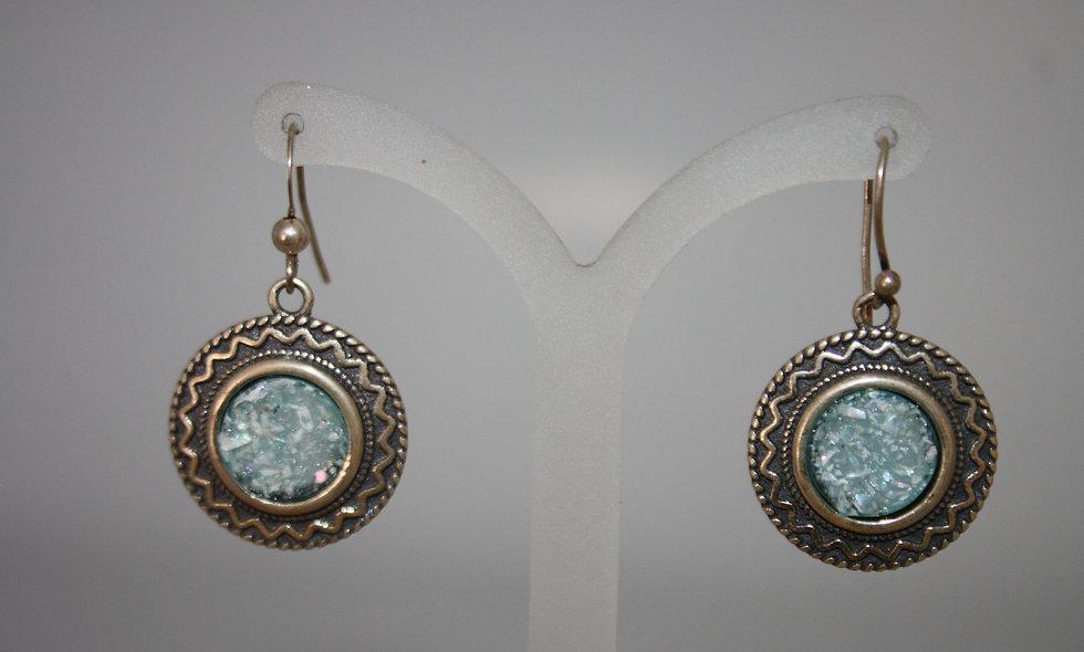 Silver Earing: Roman Glass Earring