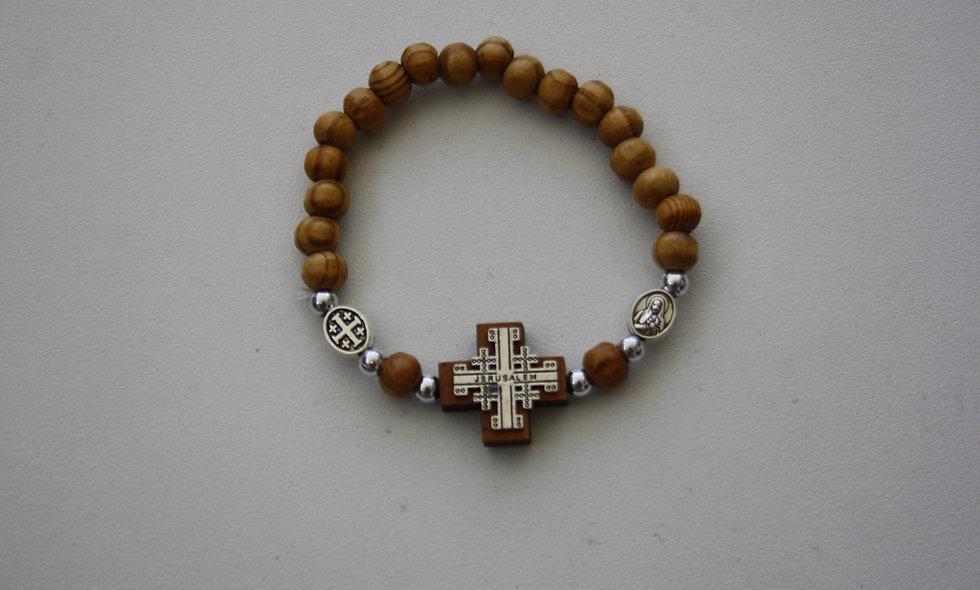 Olive Wood Bracelet With Jerusalem Cross