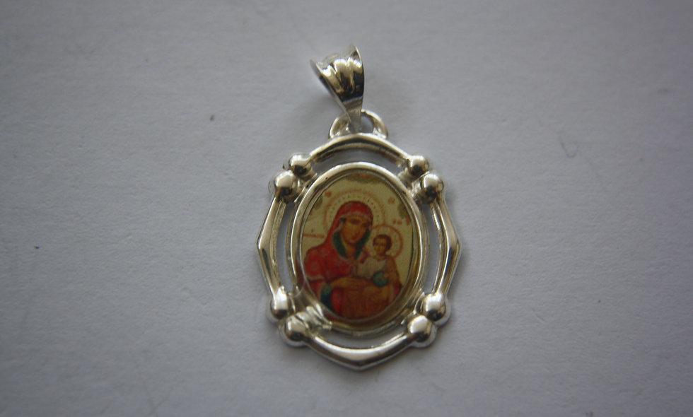 Silver Pendant: Silver Pendant Icon Virgin Mary of Jerusalem
