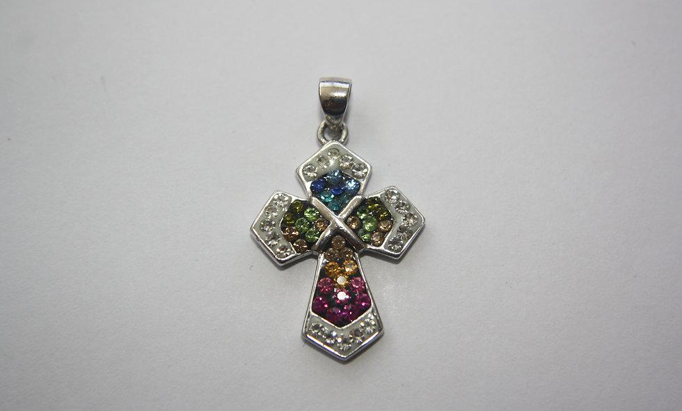 Silver Pendant: Schwarovski Crystals Cross