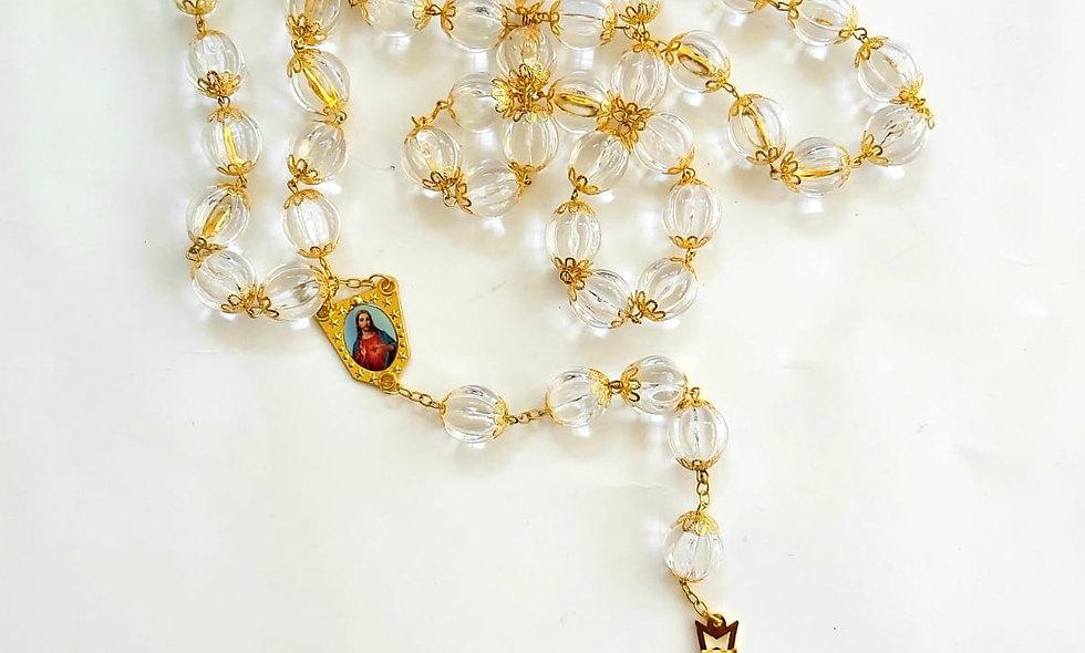 White Chrystal Rosary on wall 1.5 meter long