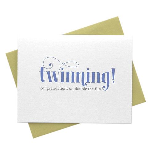 Twinning, Double the Fun New Baby Twins Card
