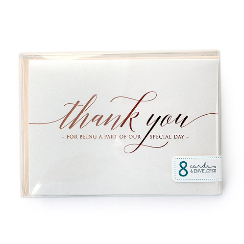 Special Day Rose Gold Foil Wedding Thank You Cards Box Set