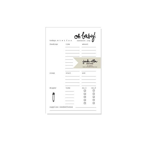 Newborn Baby Log Notepad