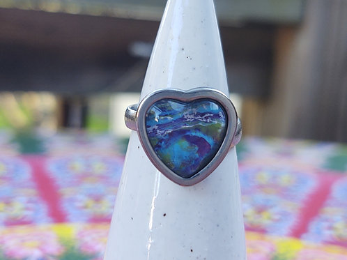 Silver Stainless Steel Adjustable Heart Ring
