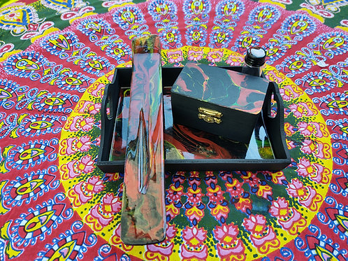 Abstract Rolling Tray Set
