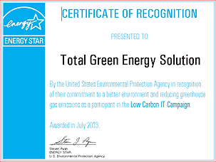 Certificate of Recognition from ENERGY S