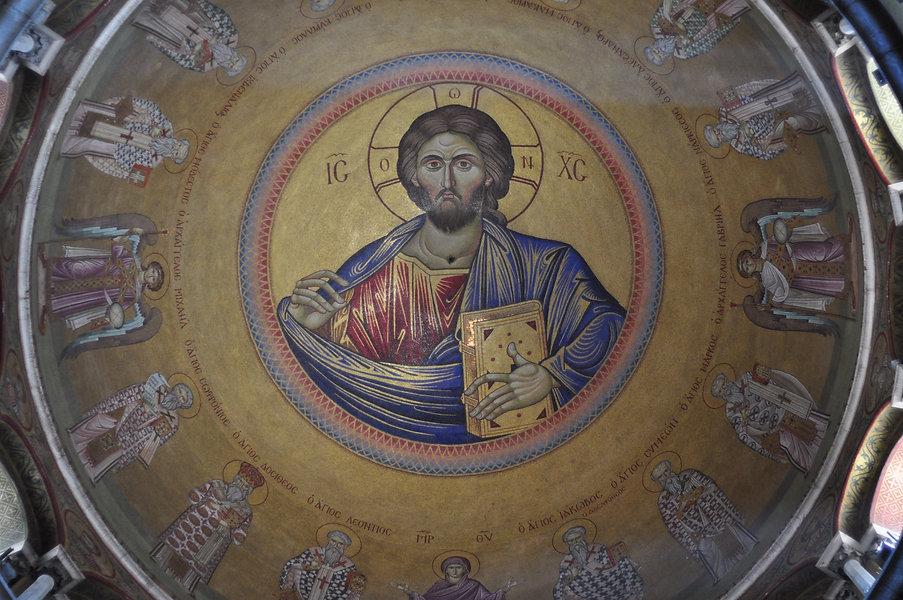 Basilica Santo Sepolcro Omphalos.JPG