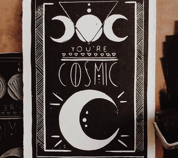 You're Cosmic Lino Print