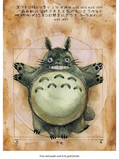 Vitruvian Totoro - Ghibli -Standard Watercolor Print