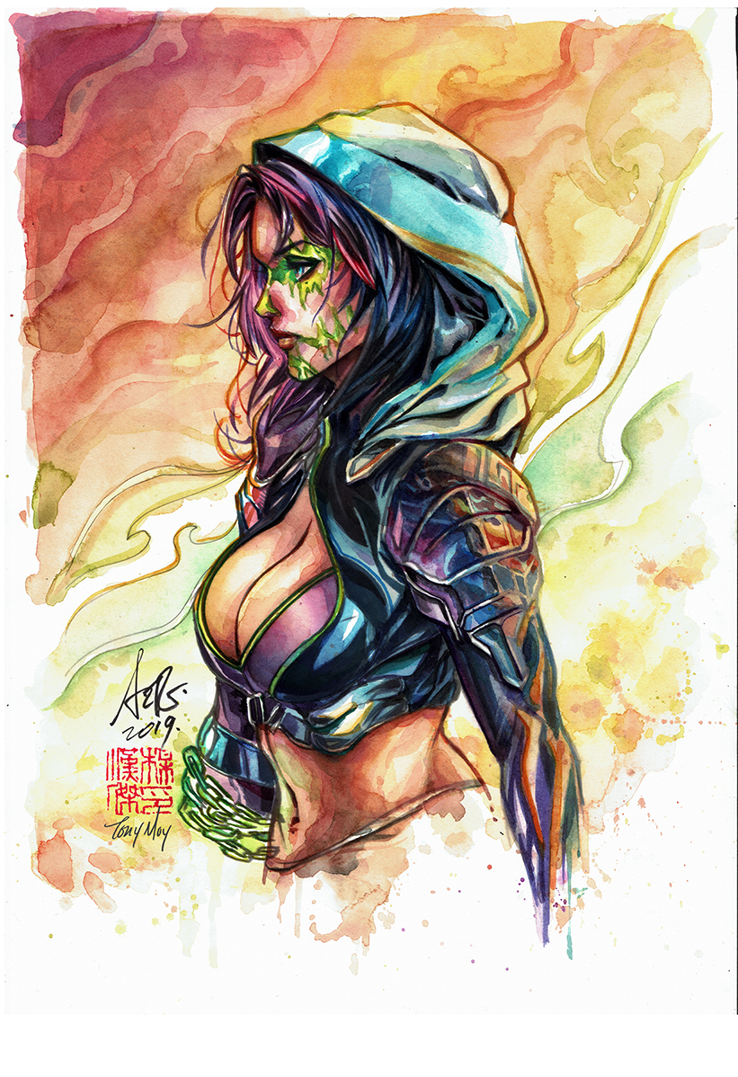 Watercolor over Artgerm Inks
