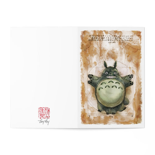 Vitruvian Totoro Watercolor - Greeting Cards (7 pcs)