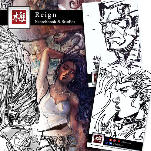 Reign - Sketchbook of Tony Moy w/ Custom Back Cover Illustration