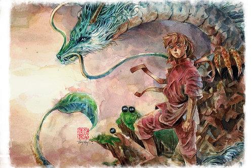 Spirited Away Haku and Sen - Ghibli -Standard Watercolor Print