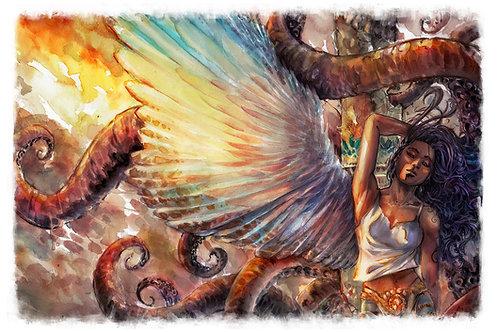 Angel's Pet - Watercolor Art Print