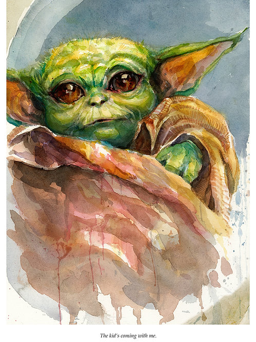 Baby Yoda - Standard Watercolor Print