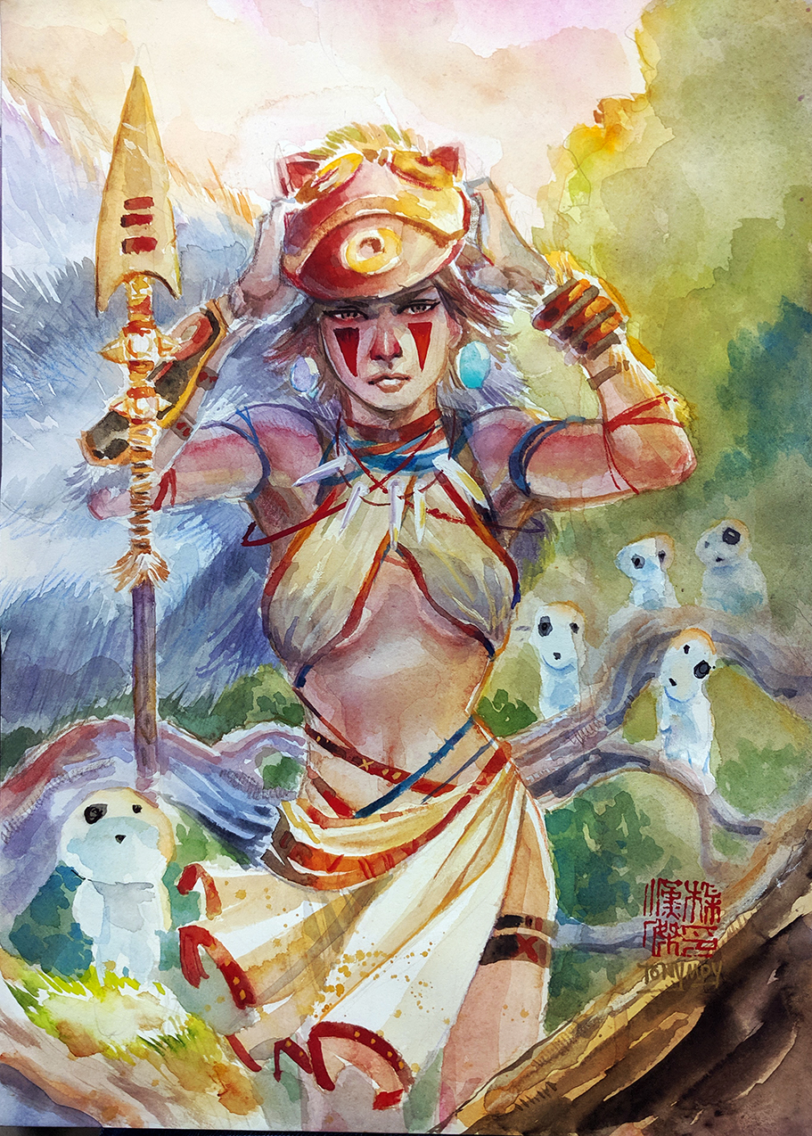 Princess Mononoke in Watercolor