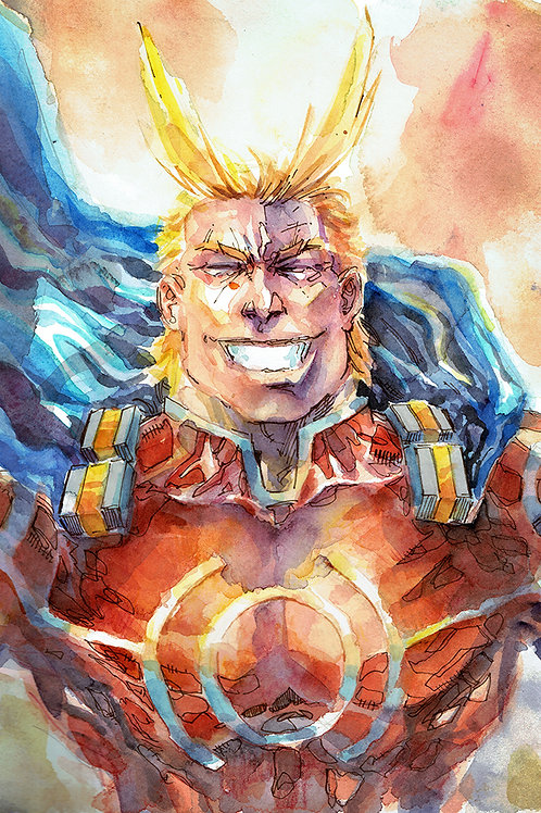 All Might Silver Age - Original Watercolor Art